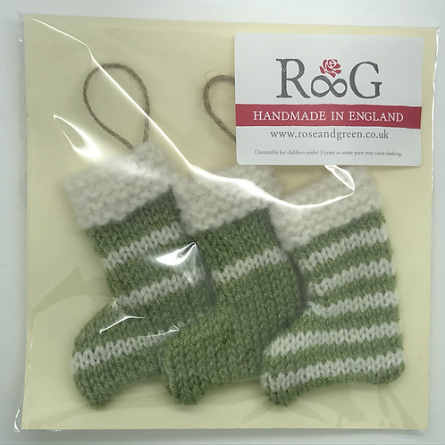 Hand-knitted Tree Stockings - Olive green/cream