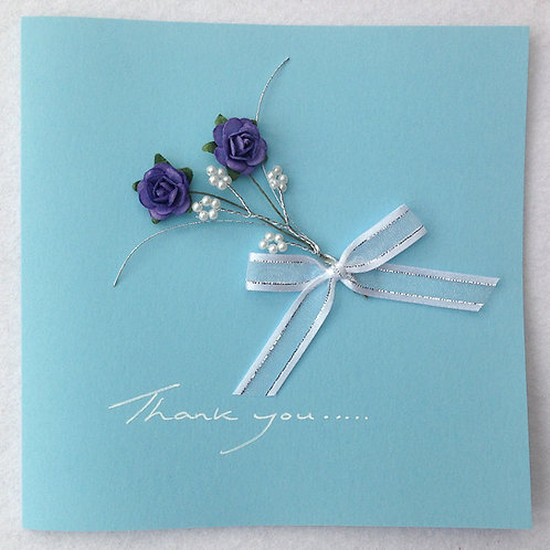 Thank you Card - Blue Rose Spray