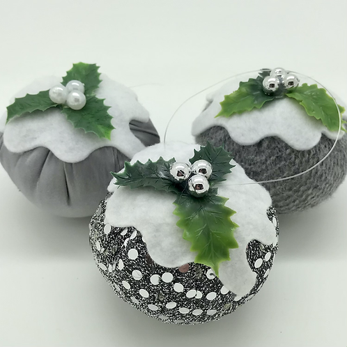 Set of 3 Silver Christmas pudding decorations