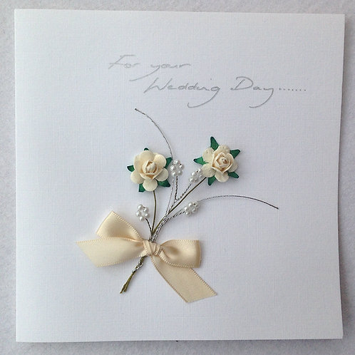 Wedding Card - White/Silver Rose spray