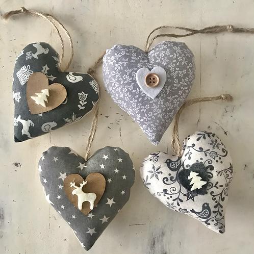 Grey 2020 Christmas hearts