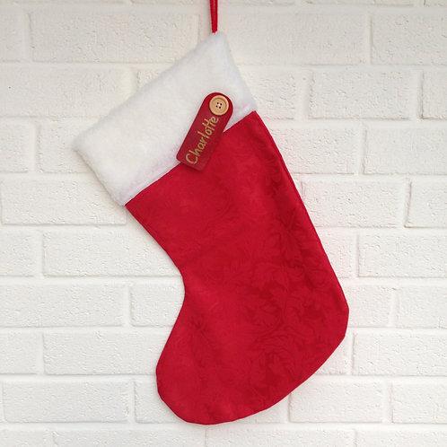 Personalised Stocking - Red damask