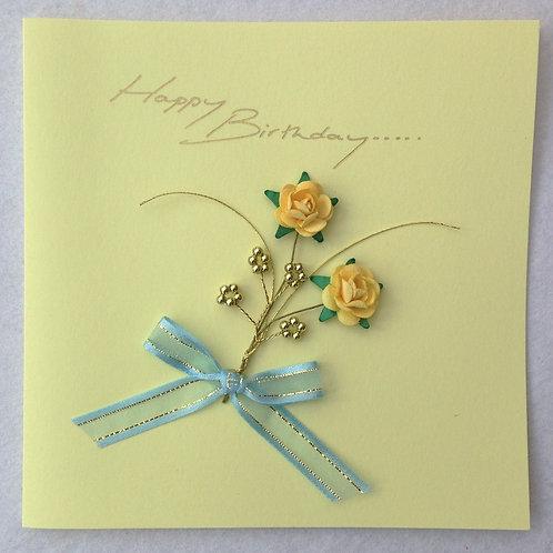 Birthday Card - Yellow Rose Spray on Yellow