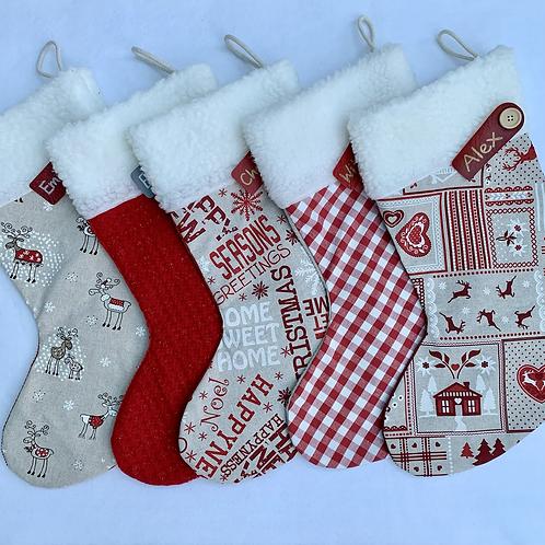 Red & Scandi Personalised stockings
