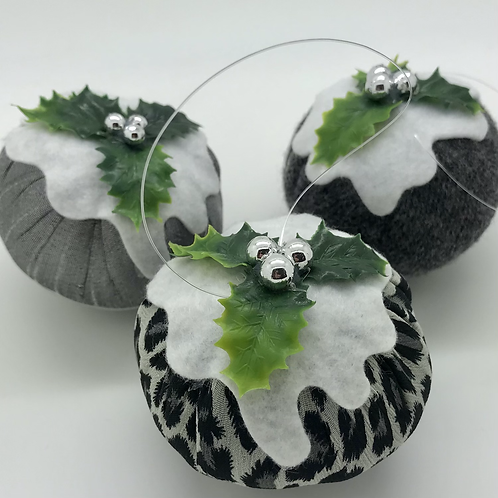 Set of 3 Grey/leopard print Christmas pudding decorations