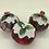 Thumbnail: Set of 3 Red/Grey tartan Christmas pudding decorations