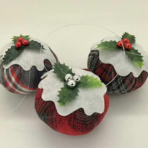 Set of 3 Red/Grey tartan Christmas pudding decorations