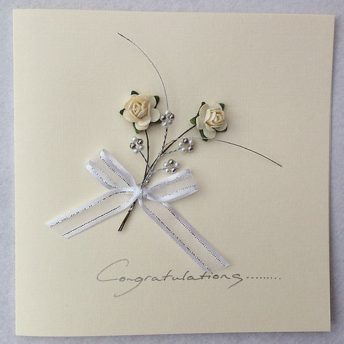 Wedding Card - Cream/Silver Rose spray