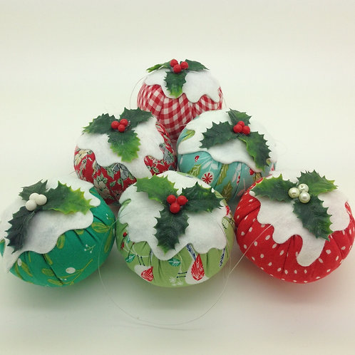 Set of 6 Patterned Christmas pudding decorations