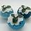 Thumbnail: Set of 3 Blue/teal Christmas pudding decorations