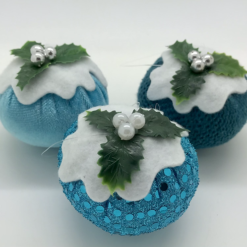 Set of 3 Blue/teal Christmas pudding decorations