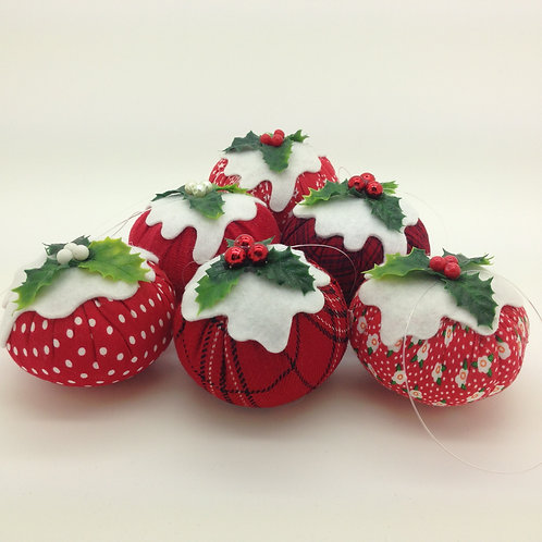 Set of 6 Red Christmas Pudding Decorations