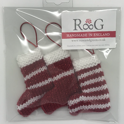 Hand-knitted Tree Stockings - Red/white glitter