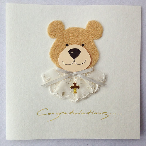 Christening/Baptism card - Teddy