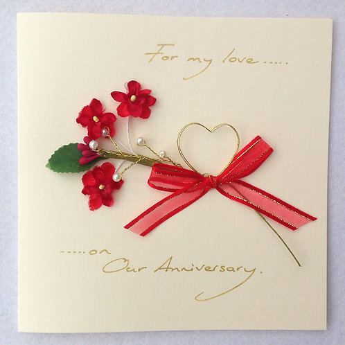 Our Wedding Anniversary Card - Heart & Flowers