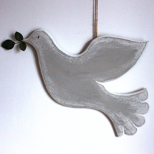 Wooden Dove Wall Hanging - Large (Left-facing)
