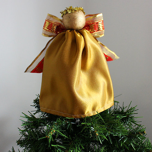 Tree-topper Angels - Gold Satin & Red