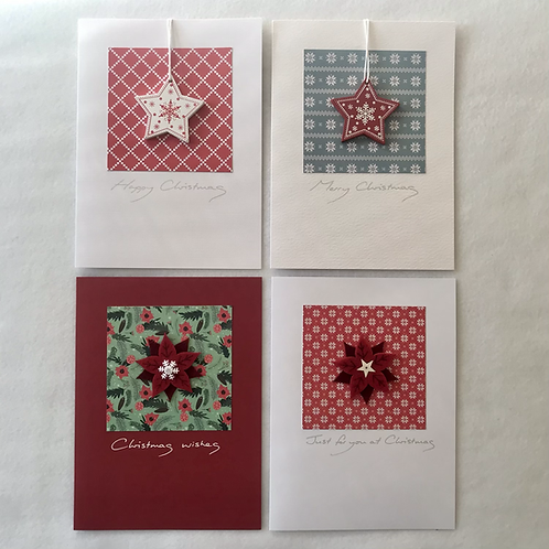 Handmade Christmas cards....Poinsettia/star