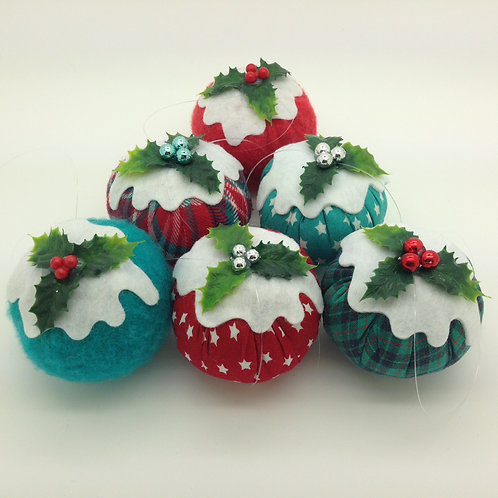 Set of 6 Red & Jade Christmas pudding decorations