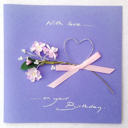 Birthday Card - Pink flowers & Heart on Purple