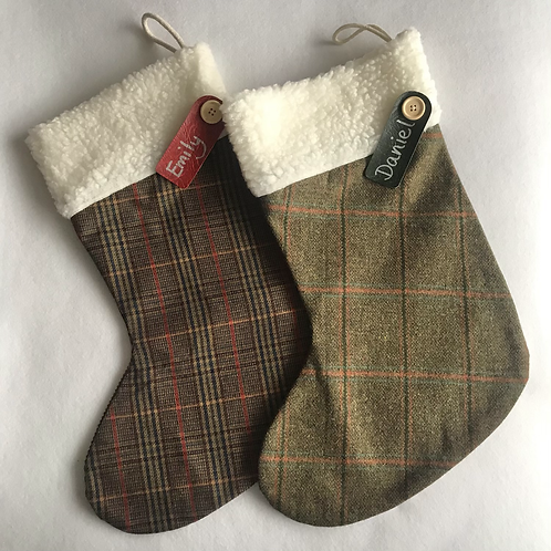 Large Tweed Personalised Stockings