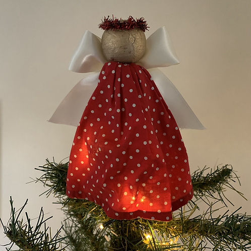 Tree-topper Angels - Red dotty