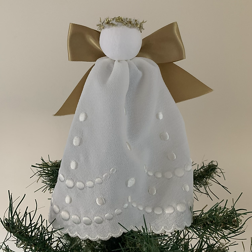 Tree-topper Angels - Cream embroidered