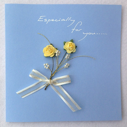 For You Card - Yellow Rose Spray on Blue