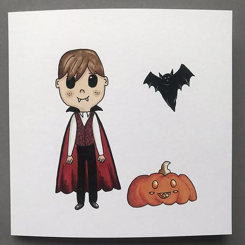 Dracula & Bat Card