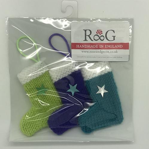Hand-knitted Tree Stockings -Purple/green/turquiose