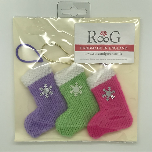 Hand-knitted Tree Stockings -Pastels