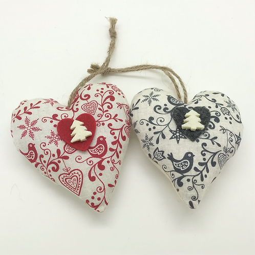 Personalised Red & Grey patterned Hearts