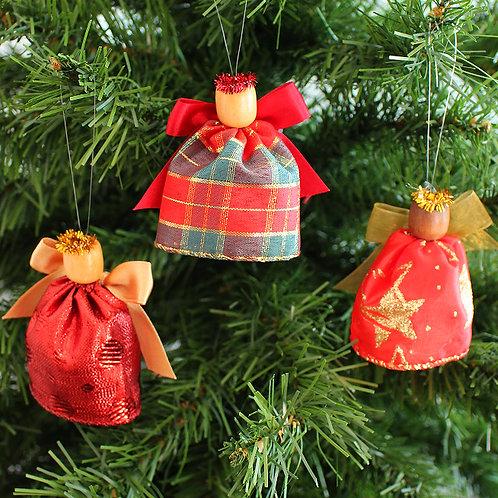 Small Tree Angels - Tartan, Red & Gold