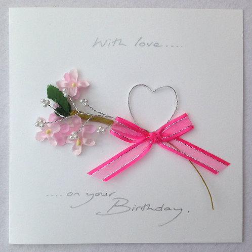 Birthday Card - Pink flowers & Heart on White