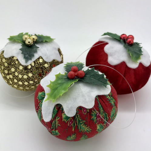 Set of 3 Red/Green/Gold Christmas pudding decorations