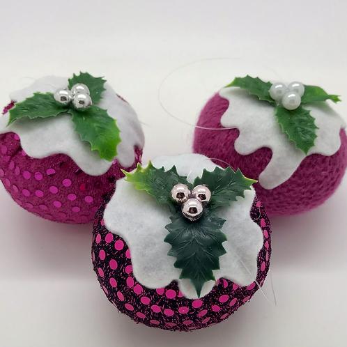 Set of 3 Pink Christmas pudding decorations