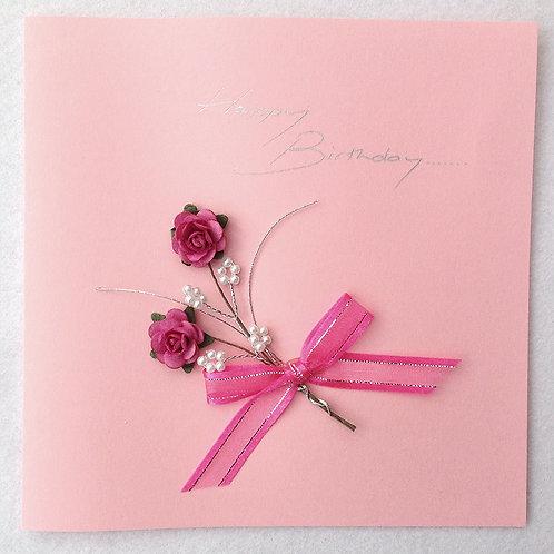 Birthday Card - Bright Pink Rose Spray on Pink