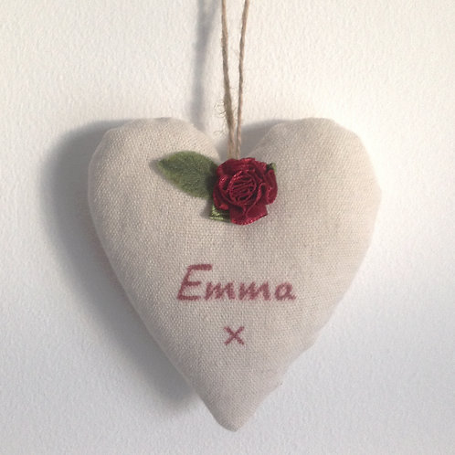 Personalised Canvas Heart - Wine Red Rose