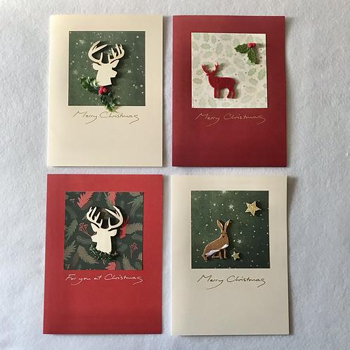 Handmade Christmas cards....Stag/Hare