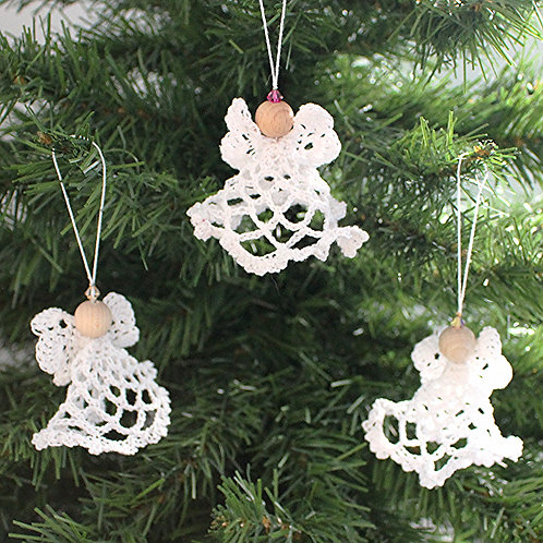 White hand crocheted angels- set of 3