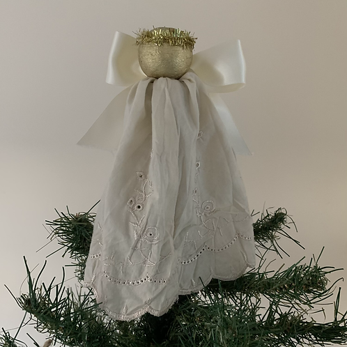 Tree-topper Angels - Cream embroidered anglaise