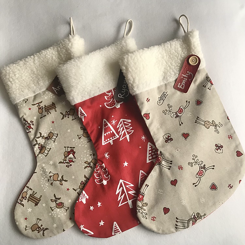 Large Trees & Reindeer Personalised stockings