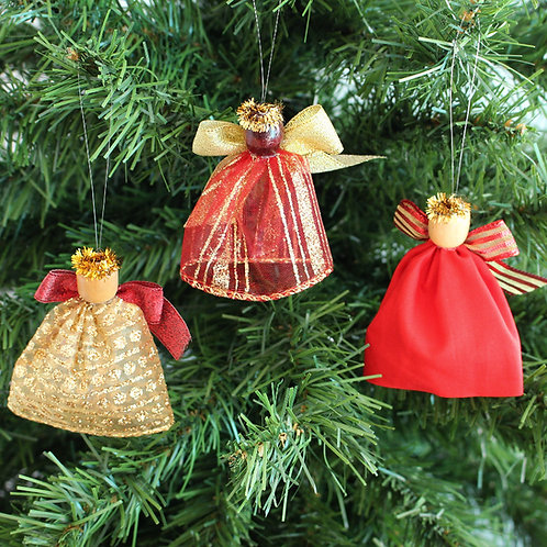 Small Tree Angels - Red & Gold Stripe