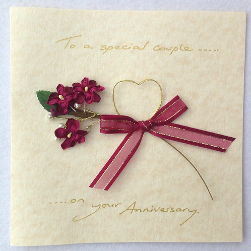 Wedding Anniversary Card - Heart & Flowers