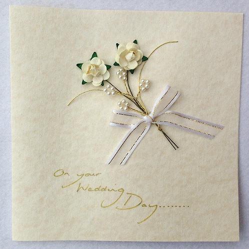 Wedding Card - Cream/Gold Rose spray