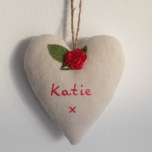 Personalised Canvas Heart - Bright Red Rose