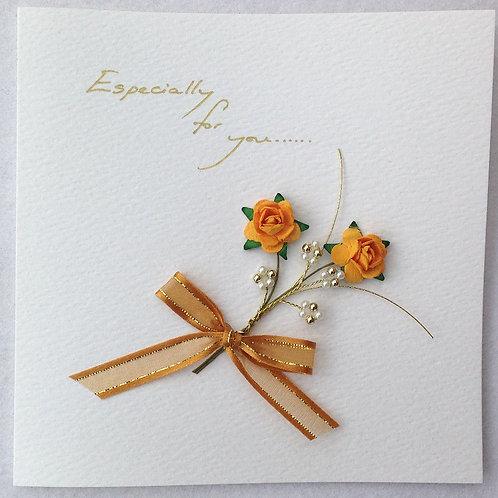 For You Card - Orange Rose Spray on White