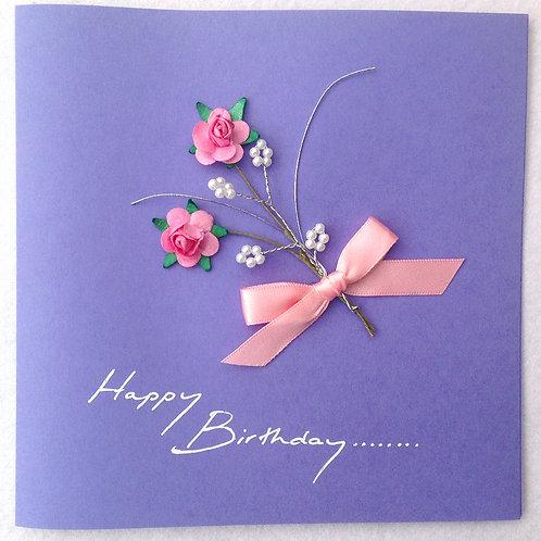 Birthday Card - Pink Rose Spray on Purple