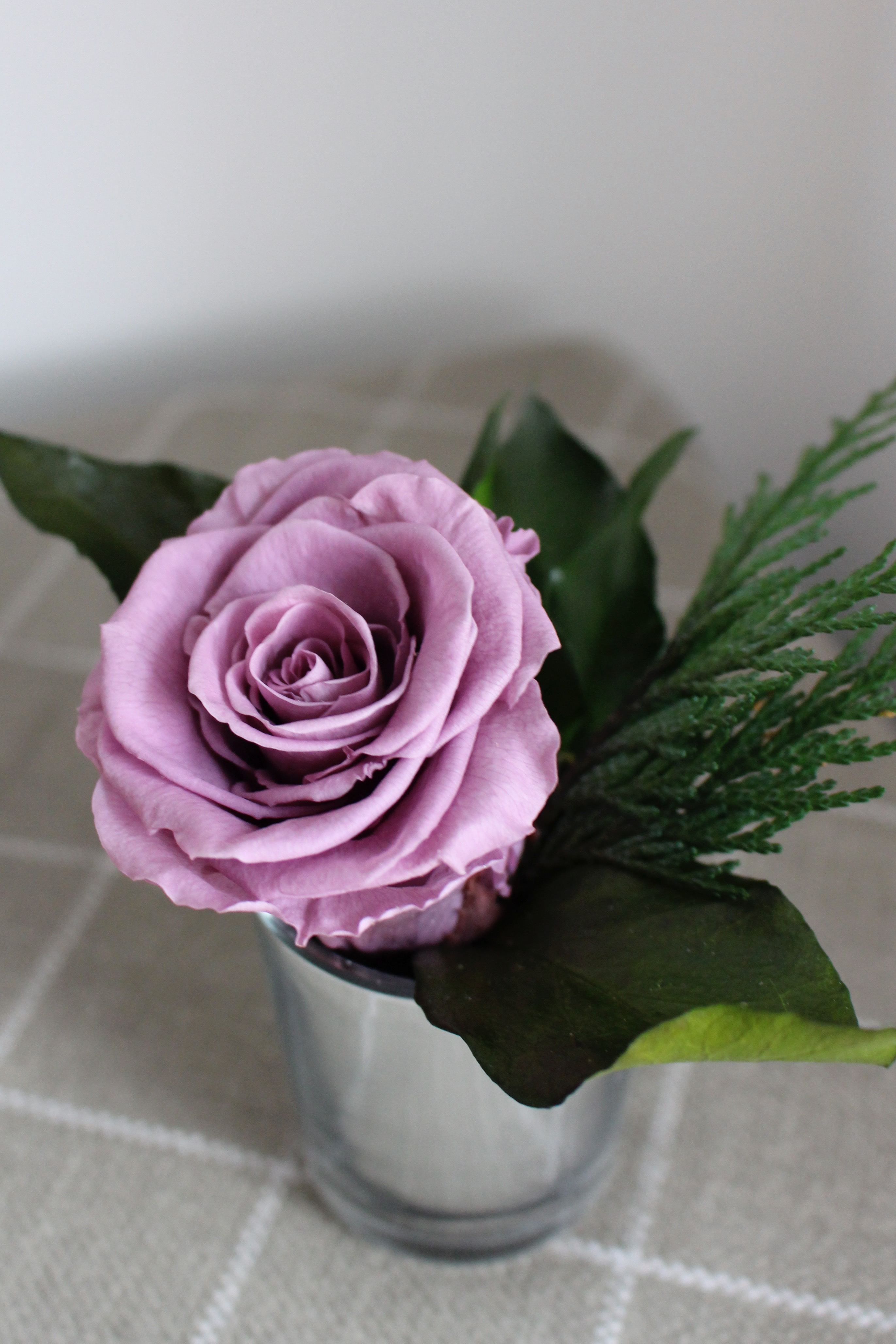 Lilac single roses in votive