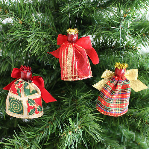Small Tree Angels - Red, Green & Gold